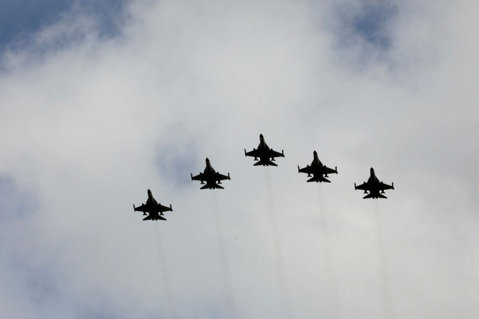 Taiwanese F-16 fighter jets fly in formation
