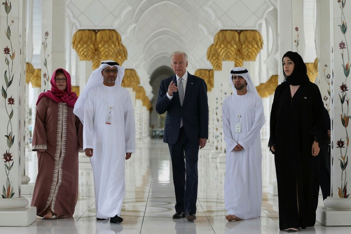 Joe Biden, then US vice-president, visits the Sheikh Zayed Grand Mosque in Abu Dhabi in 2016