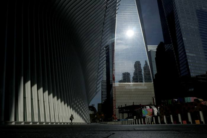 The deserted plaza outside Oculus transit hub and One World Trade Center in April
