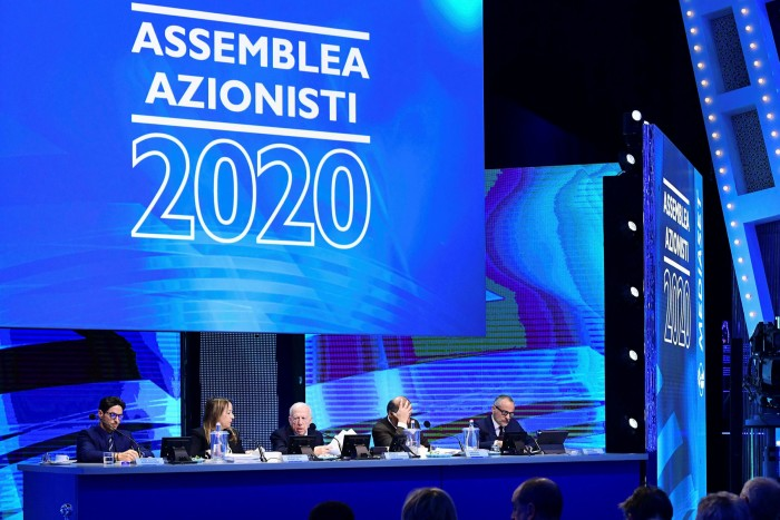 Pier Silvio Berlusconi attends Mediaset's general assembly to adopt its plan for a European holding company in January 2020