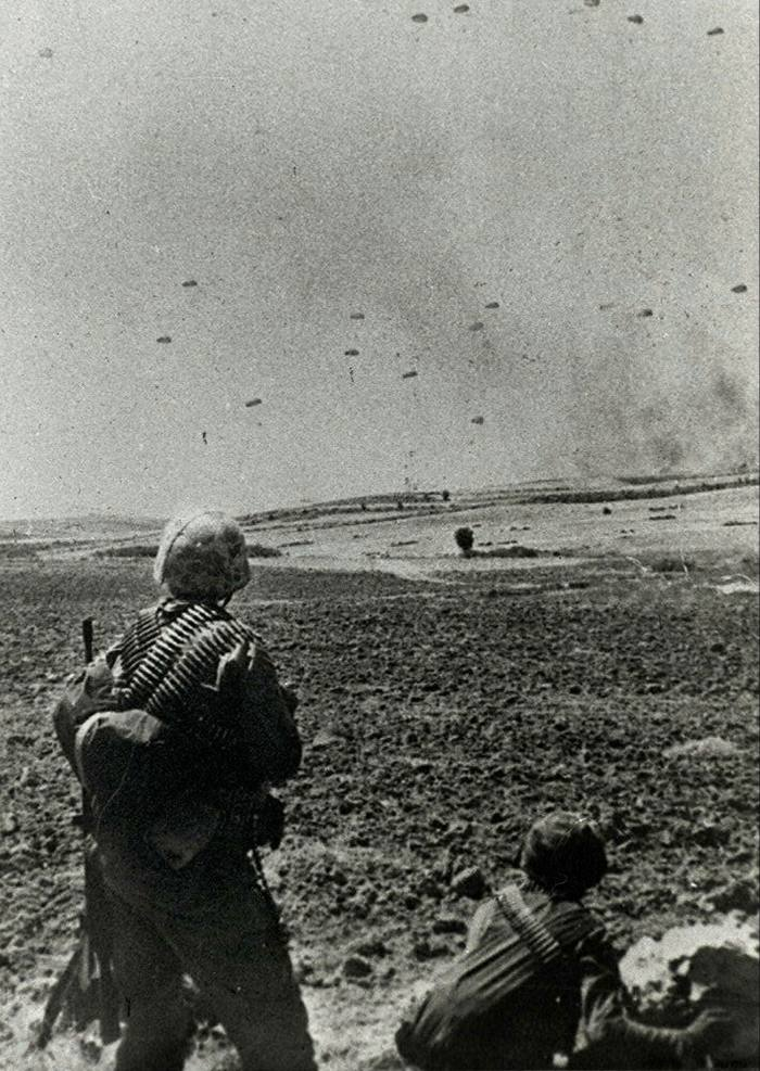 Turkish paratroopers land in Cyprus on July 20 1974, during Turkey's invasion of north Cyprus