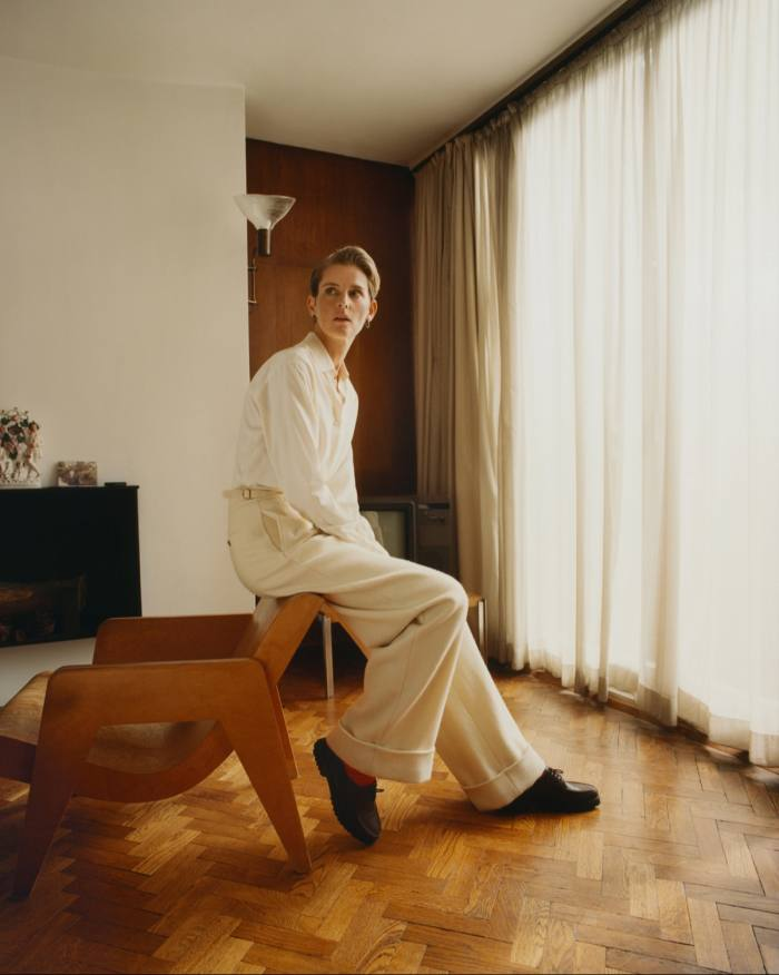 Holland & Holland silk shirt, POA, wool trousers, £690, merino socks,£45, and leather shoes, £590