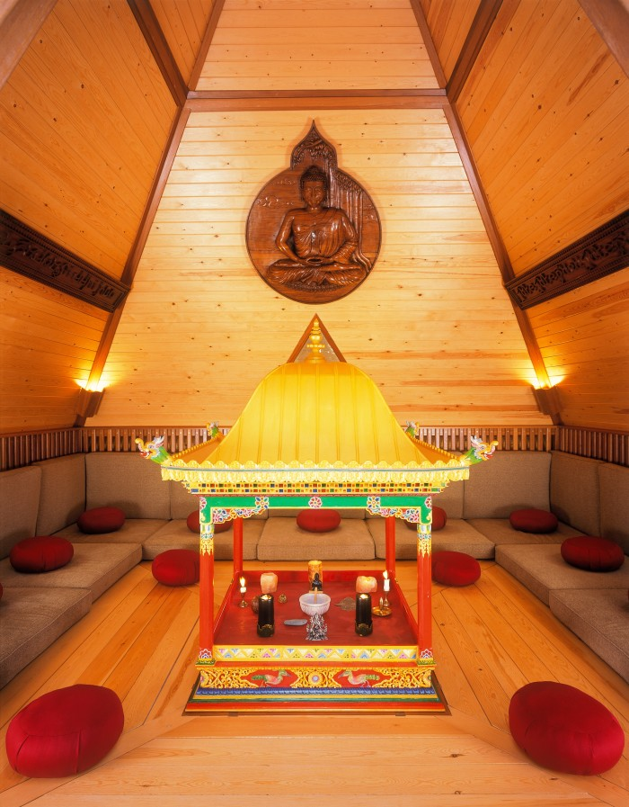 Inside the meditation pyramid on the Cowdray estate