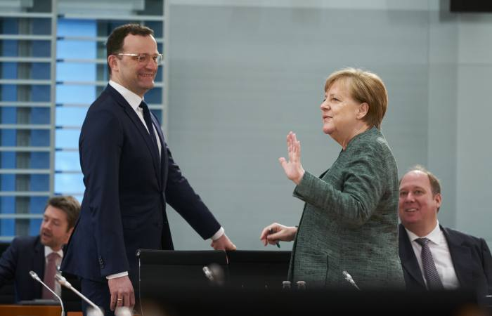German chancellor Angela Merkel with health minister Jens Spahn in April. Spahn's department played a key role in ramping up preparations to tackle the pandemic