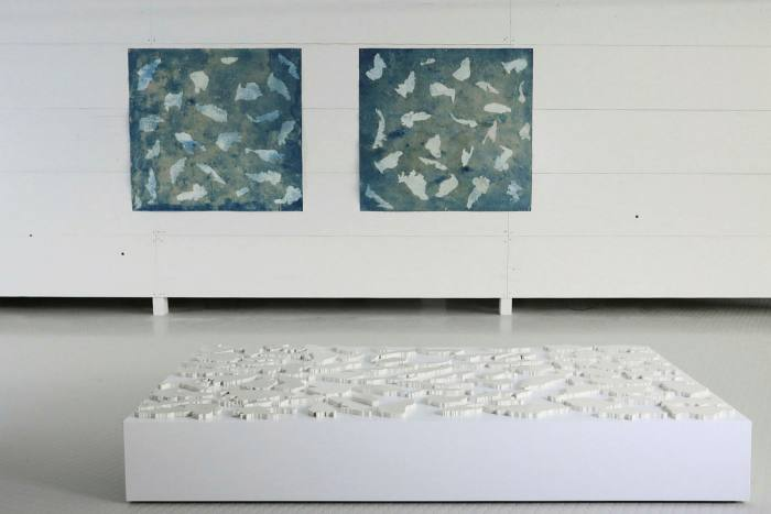 Installation view from 'One month after being known in that island', 2020, with artwork by Elisa Bergel Melo