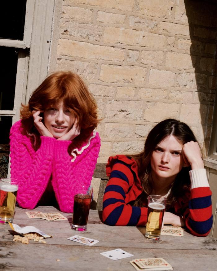 From left: Edwina wears Philosophy wool jumper, £910. Primrose wears Philosophy cashmere jumper, £365