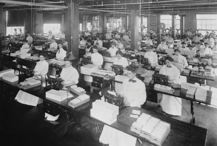 A typing pool in 1907, with the women workers sitting in rows, 'like sweatshop seamstresses'