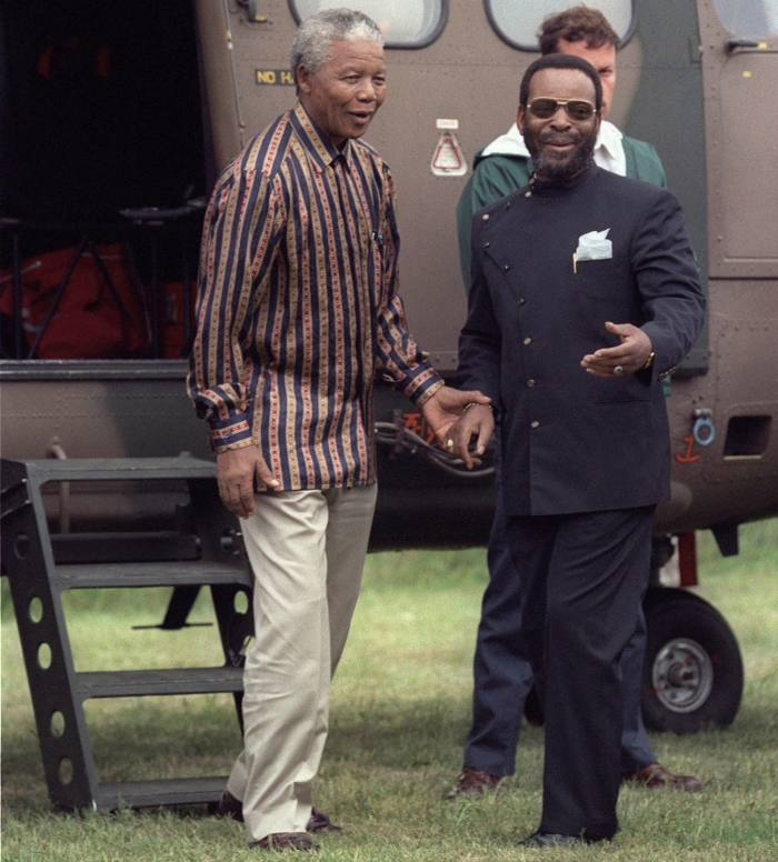 Zwelithini with South African president Nelson Mandela in 1996