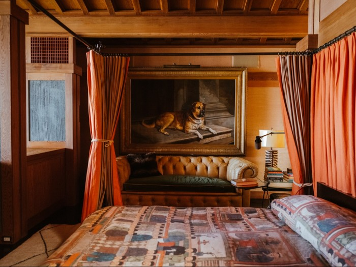 The main bedroom, with its vintage dogportrait