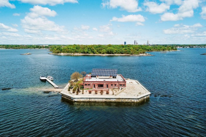 Columbia Island, on sale for $13m through Julia B Fee Sotheby's International Realty, is in Long Island Sound, and is sold with the neighbouring Pea Island