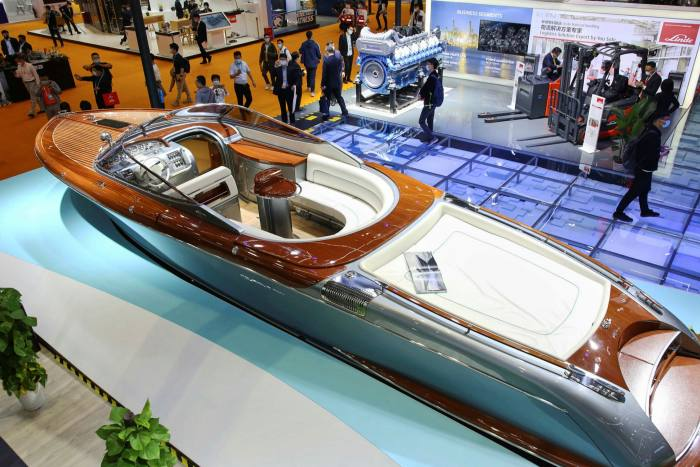 Ferretti yacht on display in China.  The huge increase in orders in the supermarket market follows a difficult decade, when a series of failures forced the industry to unite