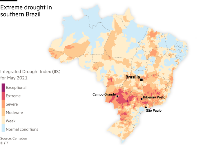 Map showing extreme drought in southern Brazil