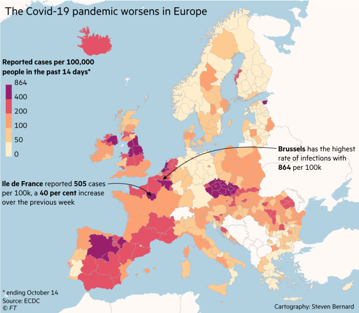 The Covid-19 pandemic worsens in Europe. Map showing reported cases per 100,000 people in the past 14 days to October 14.