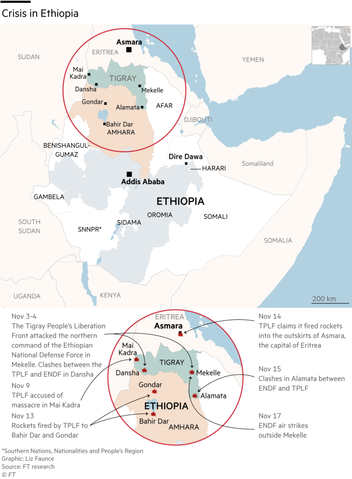 Map showing areas of conflict in and around Tigray, Ethiopia