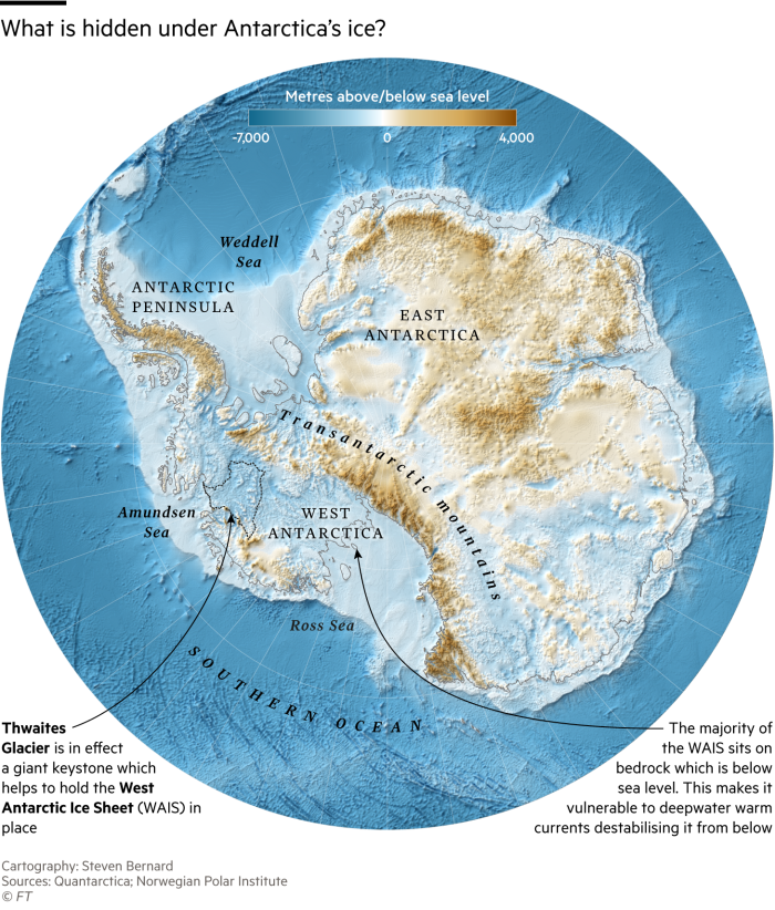 Map of Antarctica showing bedrock underneath the ice