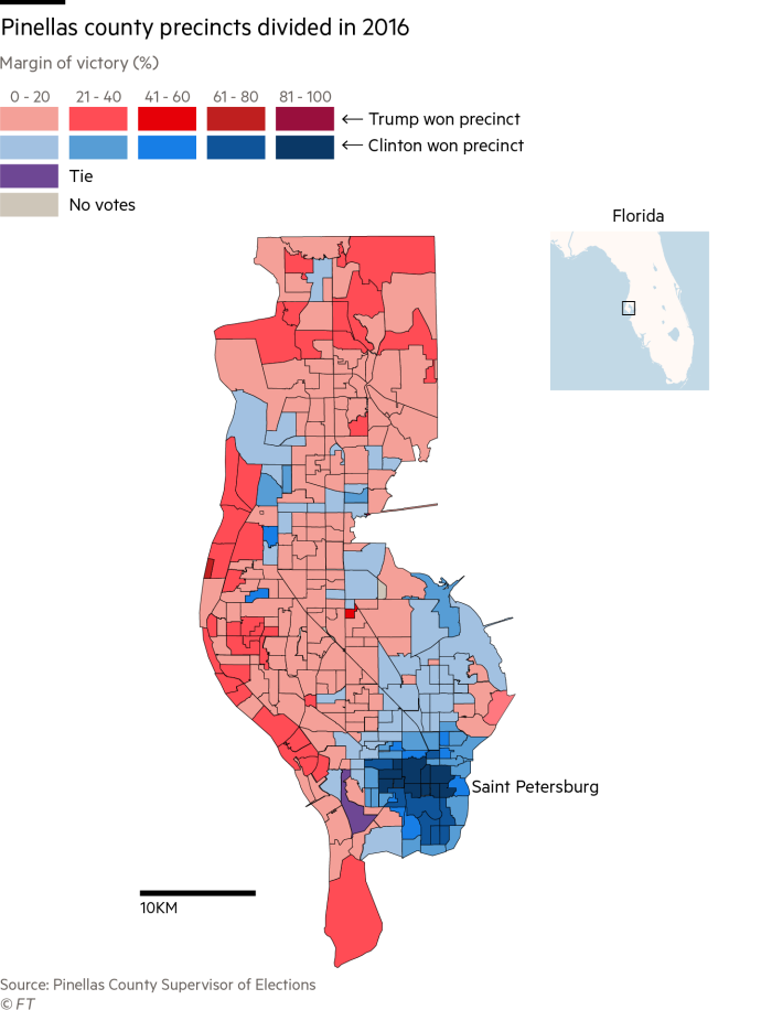 Map of Pinellas County Florida District Votes in 2016 Election