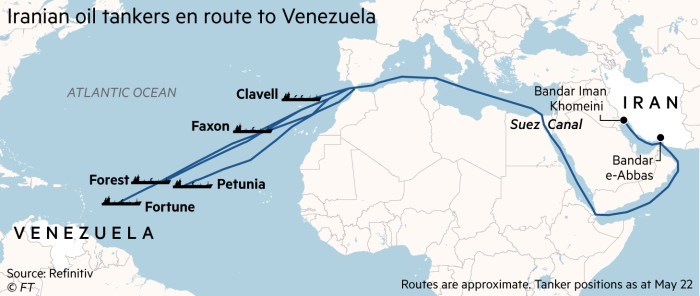 A map showing Iranian oil tankers en route to Venezuela