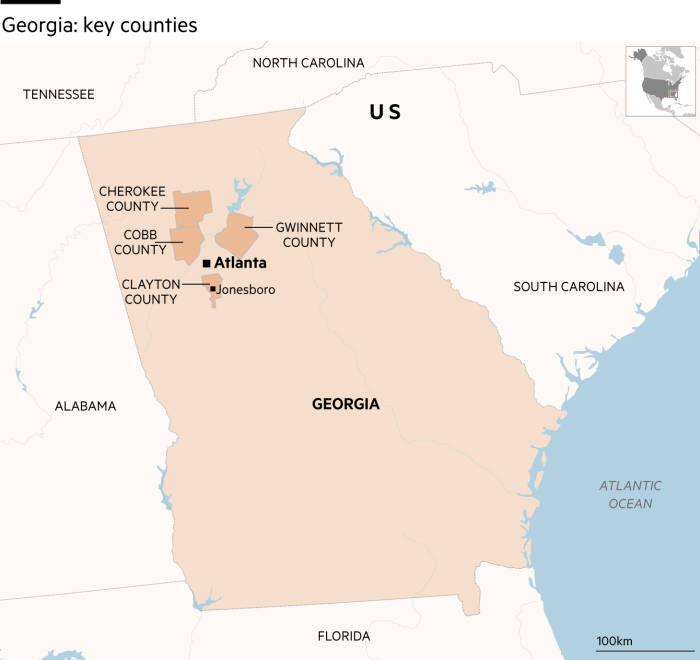 Map showing Georgia, US and key counties