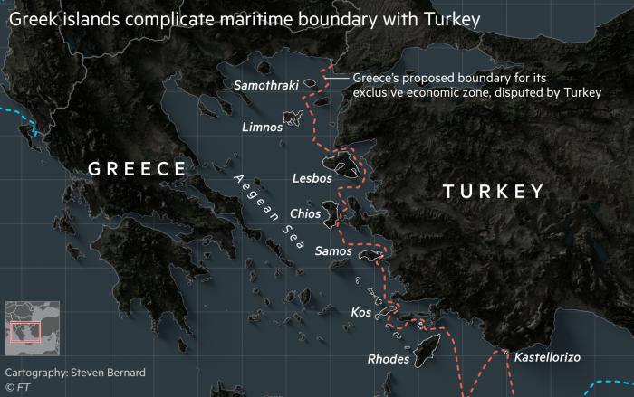 Greek islands complicate maritime boundary with Turkey. Map showing proximity of Greek islands to Turkey