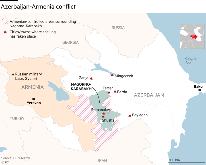 Nagorno-Karabakh conflict between Armenia and Azerbaijan map