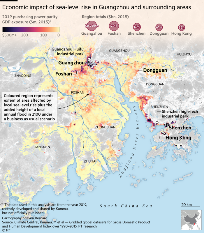 Economic impact of sea-level rise in Guangzhou and surrounding areas. Map and charts showing 2019 purchasing power parity GDP exposure ($m, 2015) in areas affected by local sea level rise plus the added height of a local annual flood in 2100 under a business as usual scenario