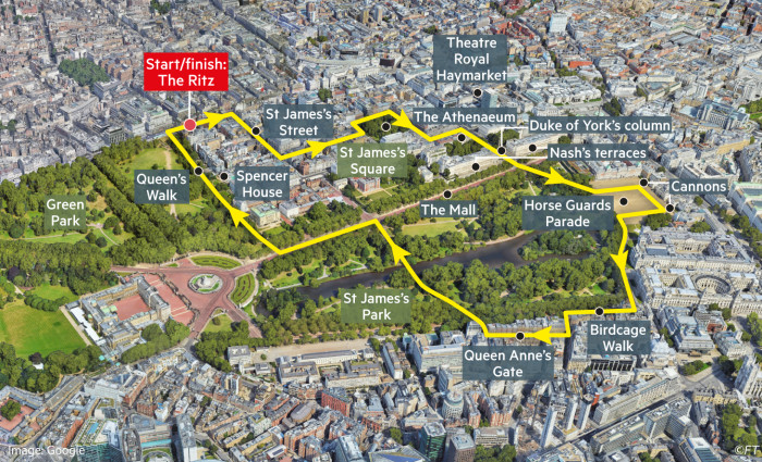 Globetrotter map showing Georgian St James's London walking route, starting from The Ritz