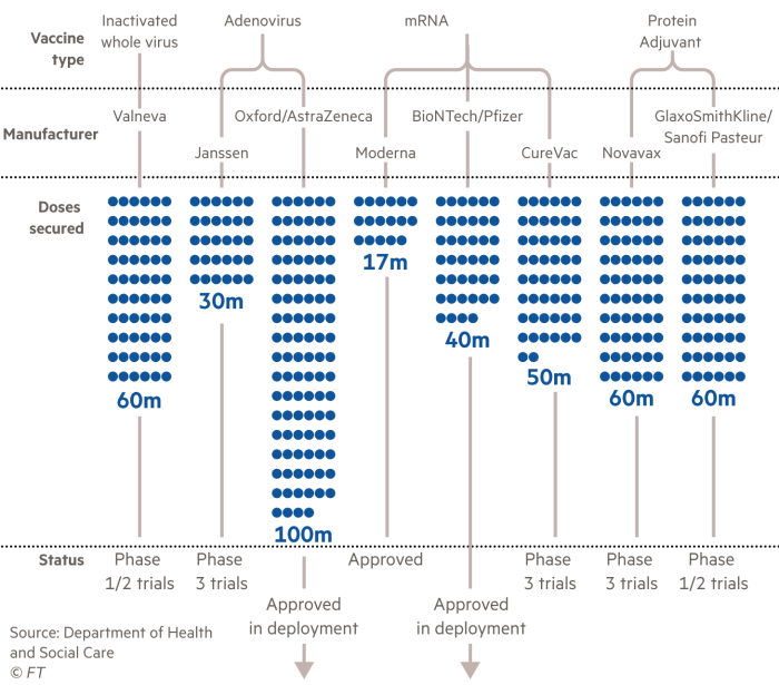 Gráfico simbólico a granel que muestra la cartera de vacunas del Reino Unido, los fabricantes participantes, las dosis garantizadas y el estado