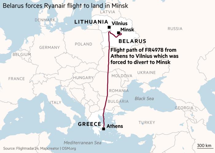 Mapa que muestra la ruta de vuelo de Ryanair FR4978 desde Atenas a Vilnius, que se vio obligada a desviarse a Minsk