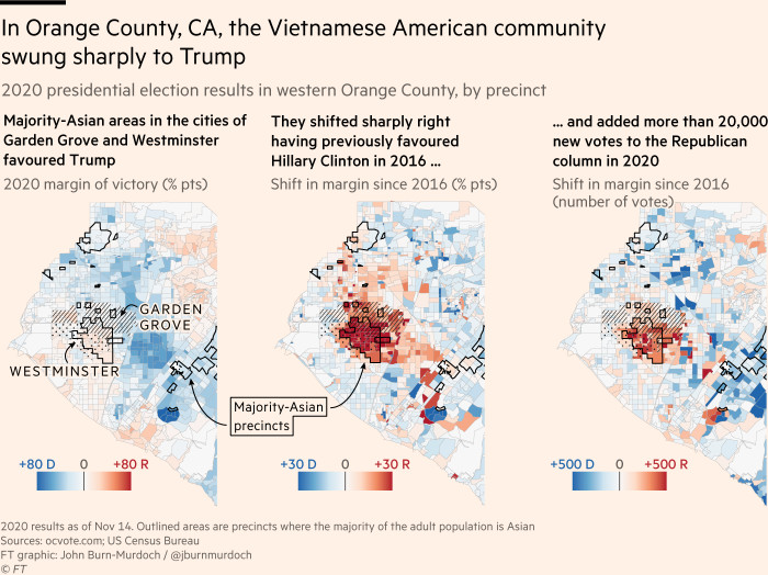 Maps showing that in Orange County, CA, the Vietnamese American communityswung sharply to Trump