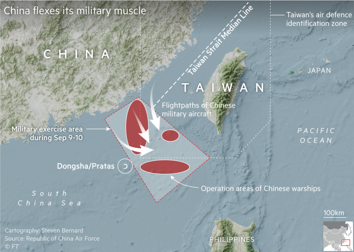 Map showing recent military exercises near Taiwan