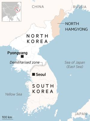 Map showing North and South Korea