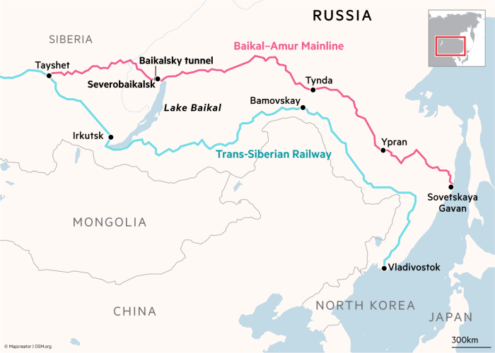 Map showing route of the Baikal-Amur Mainline and Trans-Siberian Railway