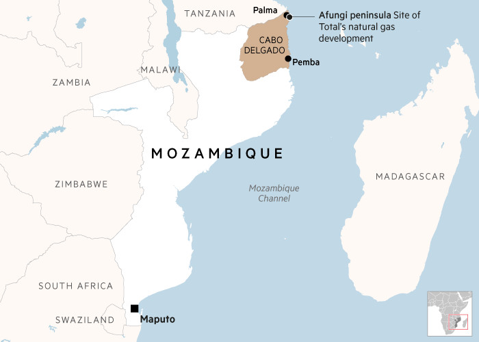 Map locating Cabo Delgado, Palma, Pemba and Maputo in Mozambique, plus Total gas installations on the Afungi peninsula