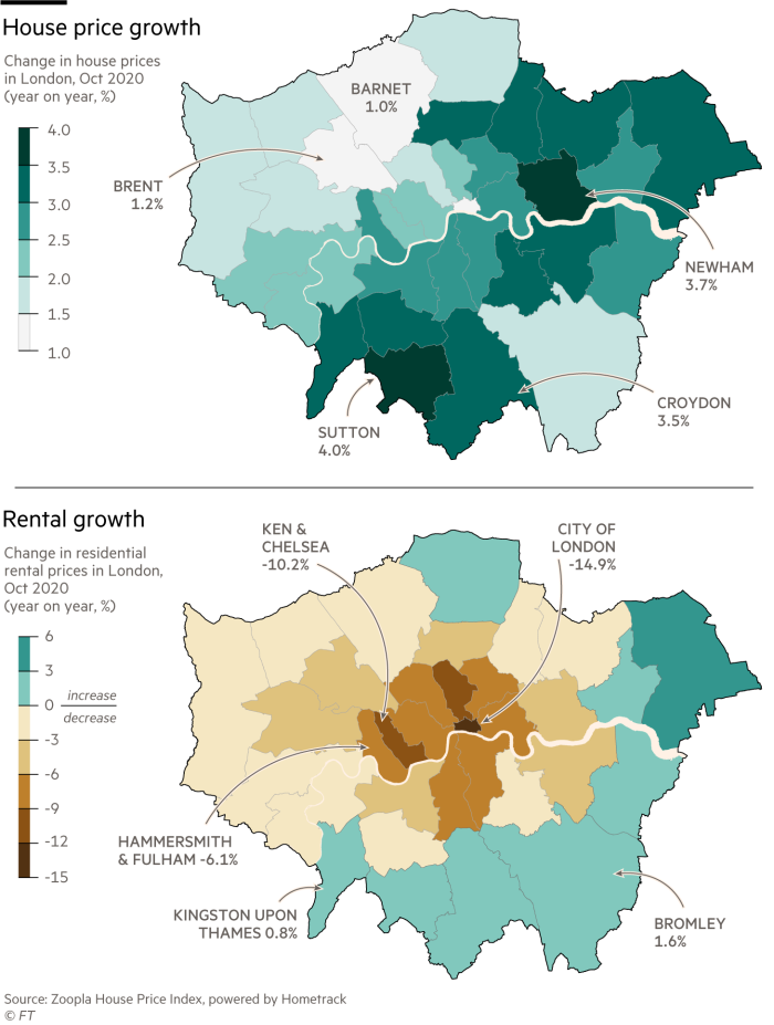 Maps showing house price and rental growth in London, Oct 2020