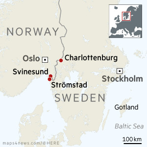 Map showing Norway/Sweden border