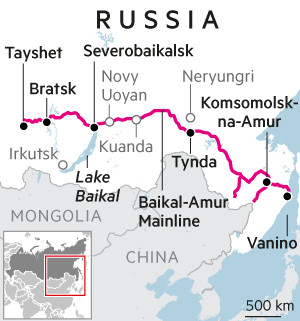 Map of Baikal-Amur Mainline in Russia