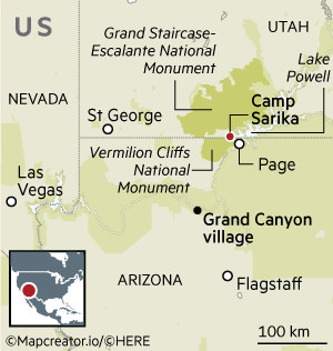 Map showing Utah, Nevada and Arizona in the US