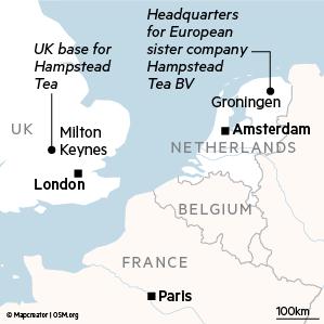 Mappa che mostra la posizione della sede di Hampstead Tea