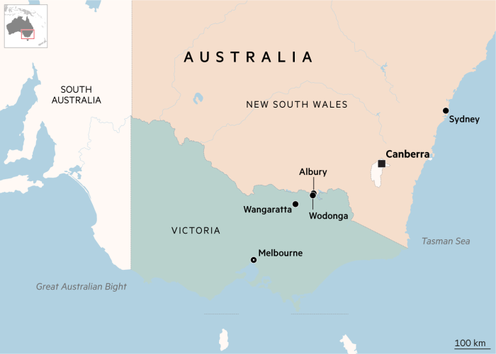 Mappa del Nuovo Galles del Sud e Victoria, Australia