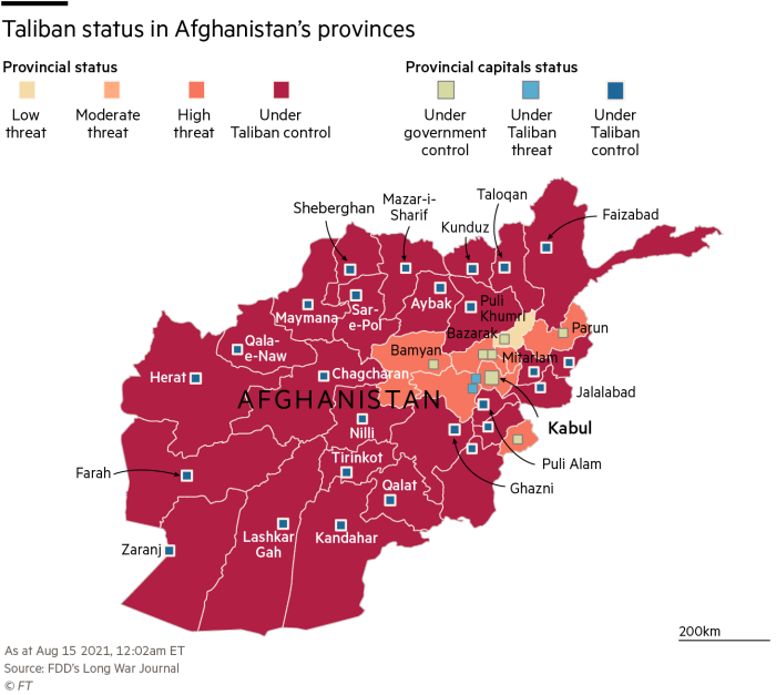 map showing Taliban status in Afghanistan provinces