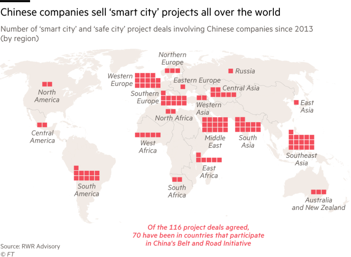 Graphic showing the number of 'smart city' and 'safe city' project deals involving Chinese companies since 2013 (by region)