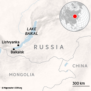 Locator map for Lake Baikal in Russia