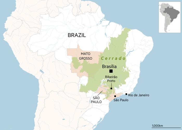 Map of Brazil showing the Cerrado area