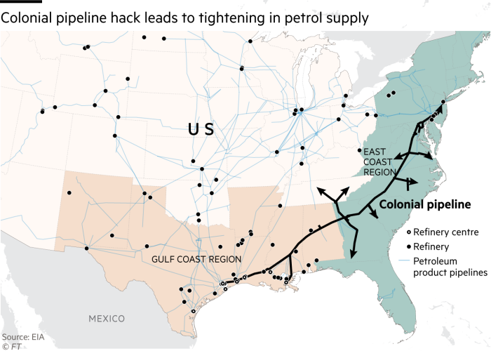 Colonial pipeline hack leads to tightening in petrol supply. Map showing Colonial pipeline and refineries in the East Coast and Gulf Coast regions