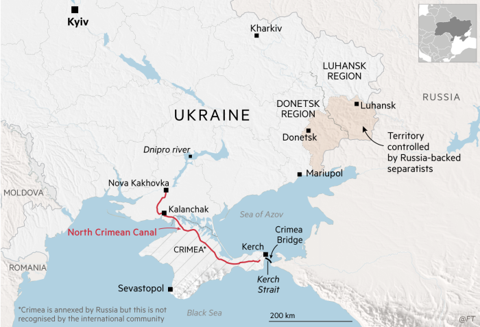 Map showing Ukraine and the North Crimean Canal, Crimea
