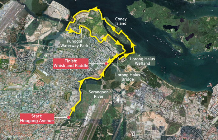 Globetrotter Singapore cycling map, Punggol/North-Eastern Riverine Loop