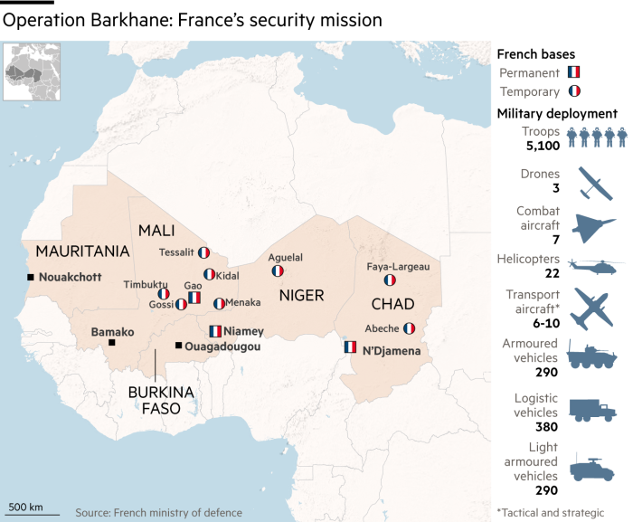 Map showing Operation Barkhane: France's security mission