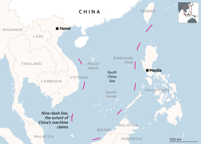 Map showing the nine-dash line and the South China Sea