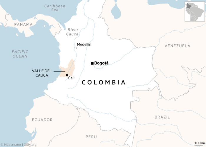 Cali, Columbia map