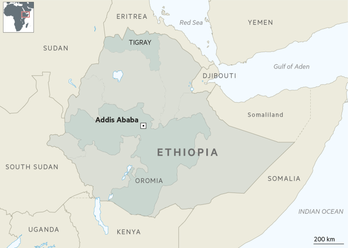 Map of Ethiopia showing the northern state of Tigray and Oromia
